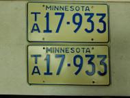 Minnesota License Plate 17-933 Pair