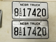 Nebraska Commercial Truck Hall County License Plate 8 17420 Pot Smoke Weed Pair