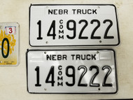 Nebraska Commercial Truck Adams County License Plate 14 9222 Triple Two Pair