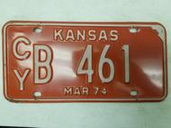 1974 Kansas Clay County License Plate B 461