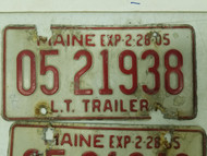 1984 Maine Trailer License Plate 05 21938