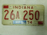 1974 Indiana License Plate 26 250