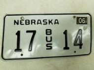 2006 Nebraska Bus License Plate 17 14