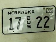 2004 Nebraska Bus License Plate 17 22