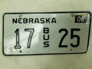 2004 Nebraska Bus License Plate 17 25