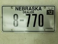 2012 Nebraska Dealer License Plate 8-770