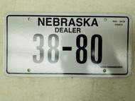 Nebraska Dealer License Plate 38-80