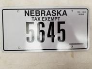 Nebraska Tax Exempt License Plate 5645