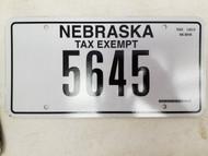 Nebraska Tax Exempt License Plate 5645 (2)