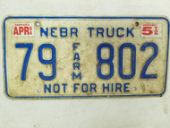 1994 Nebraska Not For Hire Farm Truck License Plate 79 802