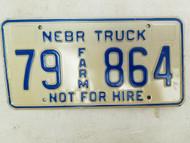 Nebraska Not For Hire Farm Truck License Plate 79 864 (2)