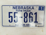 2006 Nebraska Not For Hire Farm Truck License Plate 55-861