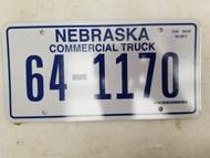 Nebraska Commercial Truck License Plate 64-1170