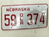 Nebraska Dealer License Plate 55 374
