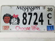 2011 Mississippi Choose Life Kids Plate 8724