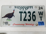 2011 Mississippi Conserving Wildlife Turkey License Plate T236