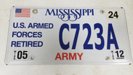 2012 Mississippi U.S. Armed Forces Retired Army American Flag License Plate C723A