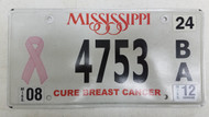 2012 Mississippi Cure Breast Cancer Pink Ribbon License Plate 4753 BA