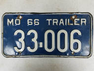 1966 Missouri Trailer License Plate 33-006