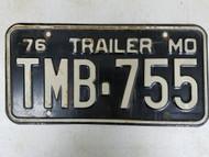 1976 Missouri Trailer License Plate TMB-755
