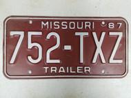 1987 Missouri Trailer License Plate 752-TXZ