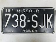 1999 Missouri Trailer License Plate 738-SJK