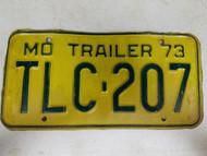 1973 Missouri Trailer License Plate TLC-207