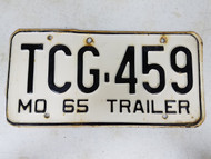 1965 Missouri Trailer License Plate TCG-459