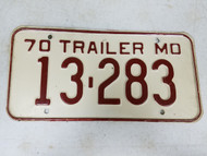 1970 Missouri Trailer License Plate 13-283