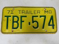 1971 Missouri Trailer License Plate TBF-574