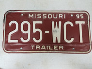 1995 Missouri Trailer License Plate 295-WCT