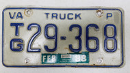 1988 Virginia Truck License Plate TG-29-368
