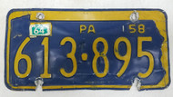 1958 (1964 Tag) Pennsylvania License Plate 613-895