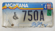 2000 Tag Montana Big Sky Cow Skull Handicapped License Plate 750A