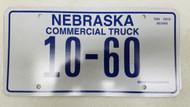 Expired Nebraska Commercial Truck License Plate 10-60