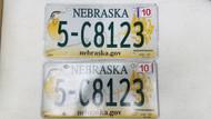 2010 Tag Nebraska nebraska.gov Dodge County License Plate 5-C8123 Bird Flower PAIR