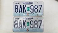 2013 Missouri Show Me State License Plate 8AK-987 Blue Bird PAIR