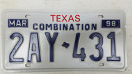 1998 TEXAS Combination License Plate 2AY-431