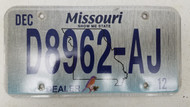 2012 MISSOURI Show Me State Dealer License Plate D8962-AJ Blue Bird