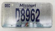 2014 MISSOURI Show Me State Dealer License Plate D8962 Blue Bird