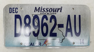 2014 MISSOURI Show Me State Dealer License Plate D8962-AU Blue Bird