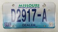 1999 MISSOURI Dealer License Plate D2917-A