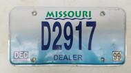 1999 MISSOURI Dealer License Plate D2917