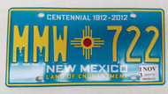 2013 NEW MEXICO Land of Enchantment Centennial 1912-2012 License Plate MMW-722 Zia Sun
