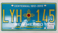 2013 NEW MEXICO Land of Enchantment Centennial 1912-2012 License Plate LYH-145 Zia Sun