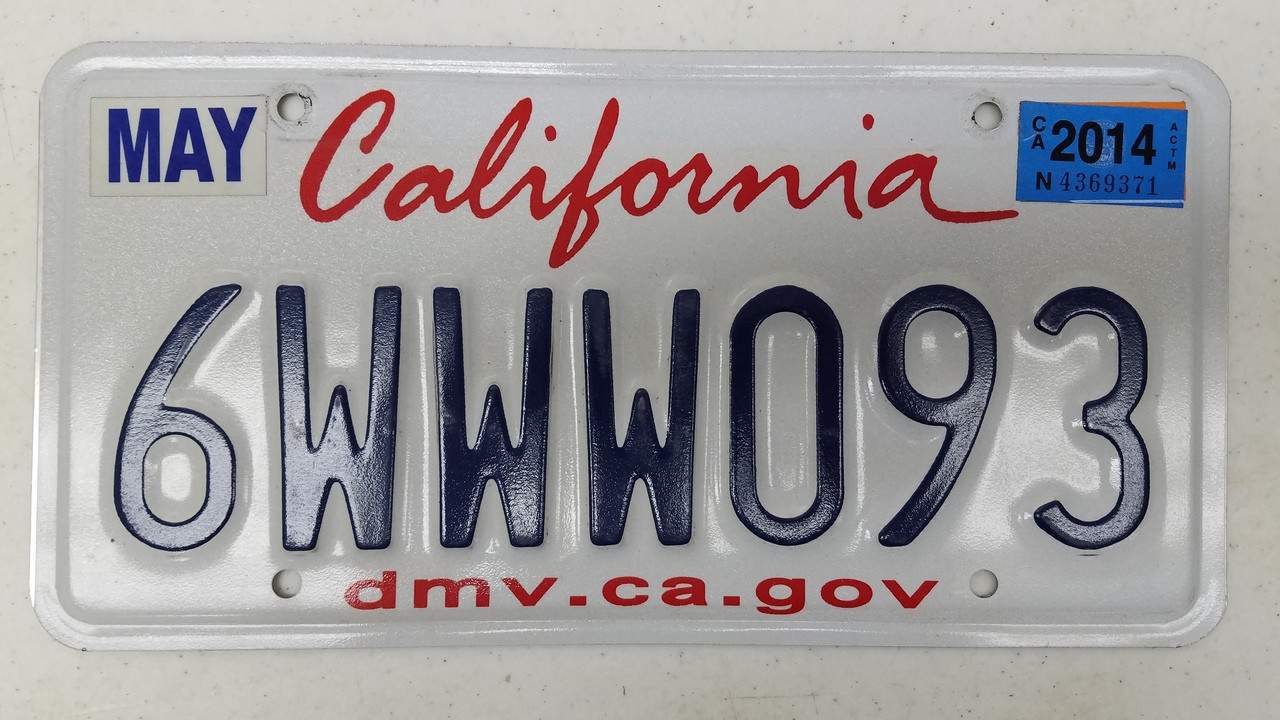 2014 CALIFORNIA dmv ca gov License Plate 6WWW093