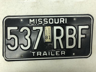 1979 (1981 Tag) MISSOURI Trailer License Plate 537-RBF