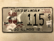 2012 ILLINOIS Land of Lincoln St. Jude Memphis to Peoria Runs 7-17-12 License Plate 115-SJK Footprints Shoeprints