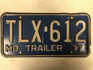 1977 MISSOURI Trailer License Plate TLX-612