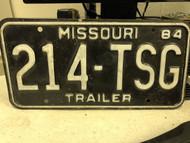 1984 MISSOURI Trailer License Plate 214-TSG
